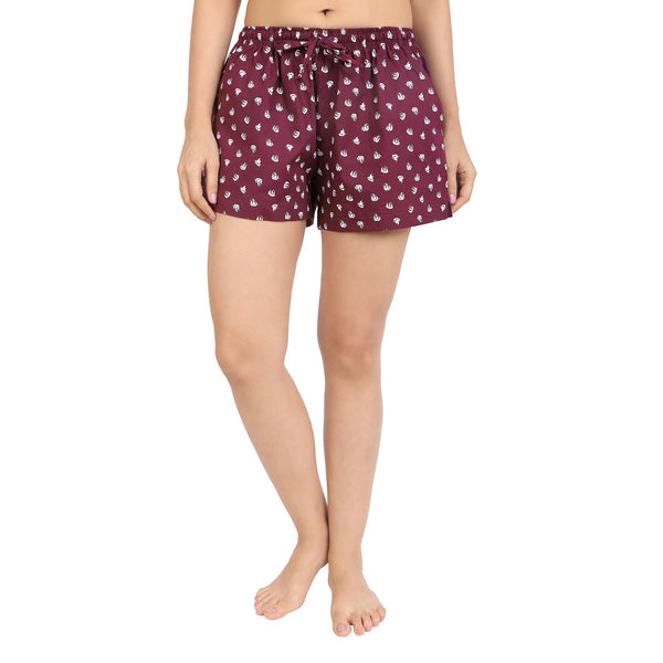 Printed Women's Shorts (Pirateship Print, Maroon) - The Cotton Company - Women - Shorts