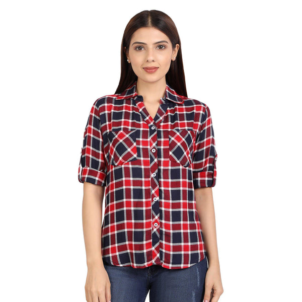 Viscose Plaid Check Shirt for Women - Red & White - The Cotton Company - Women - Shirt