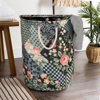 Foldable Canvas Laundry Bag Basket (Black Panel) - TCC - The Cotton Company