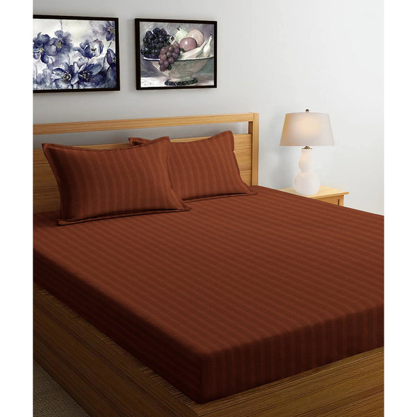 250TC Satin Stripe Bedsheet Set with Pillow Cover (Brown)