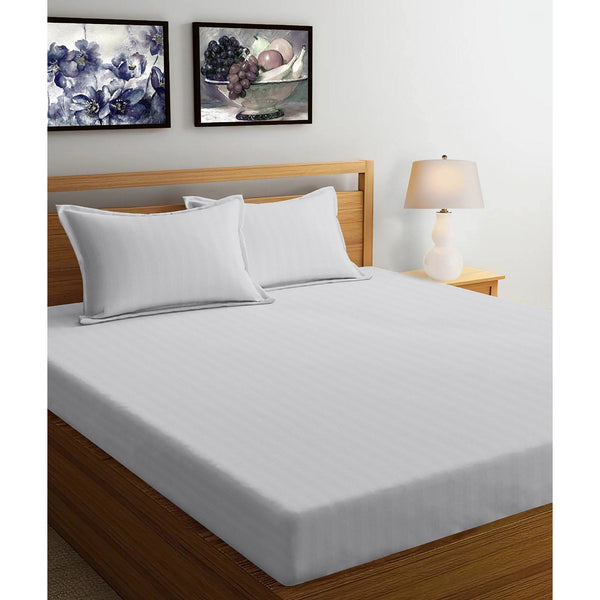 250TC Satin Stripe Bedsheet Set with Pillow Cover (White) - The Cotton Company - Bedsheet