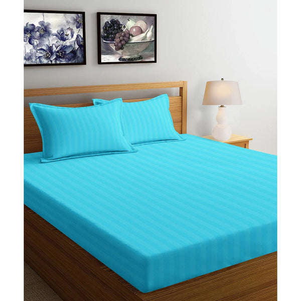 250TC Satin Stripe Bedsheet Set with Pillow Cover (Sky Blue)