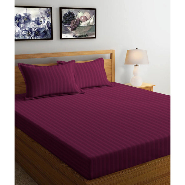 250TC Satin Stripe Bedsheet Set with Pillow Cover (Wine)