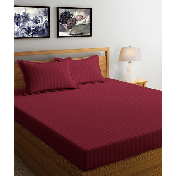 250TC Satin Stripe Bedsheet Set with Pillow Cover (Maroon)