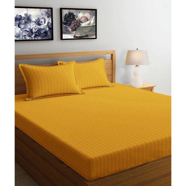 250TC Satin Stripe Bedsheet Set with Pillow Cover (Gold) - The Cotton Company - Bedsheet