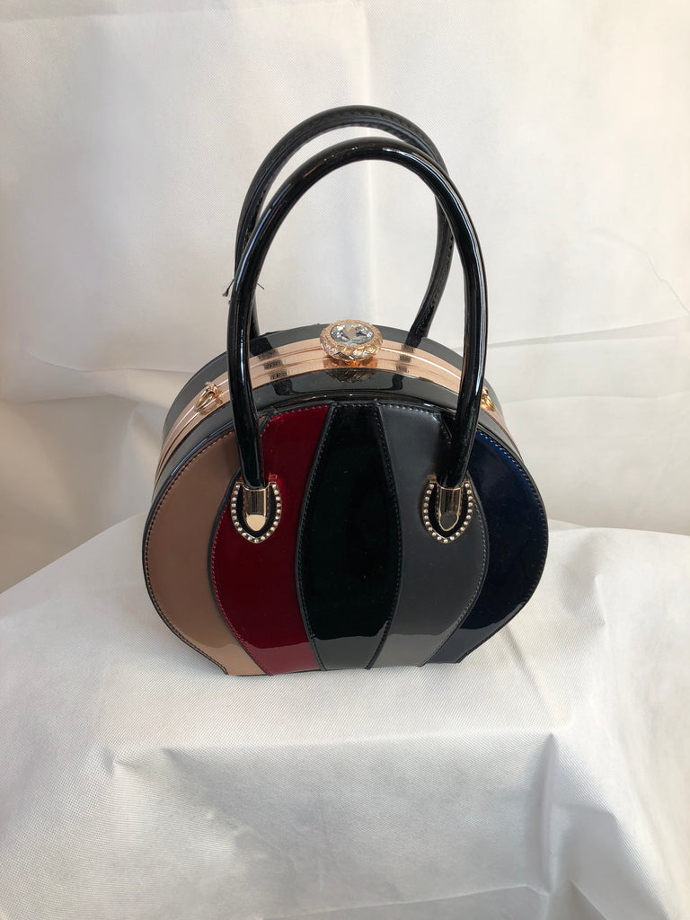 Gold, Red, Black, Silver and Blue Round Shaped Fashionable Bag, Clasp Shut