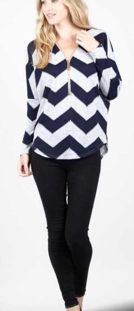 Stripped Long Sleeved Jumper Top with Zip Accessory