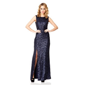 blue sequin zig zag split maxi