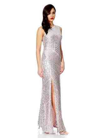 pink sequin zig zag maxi dress