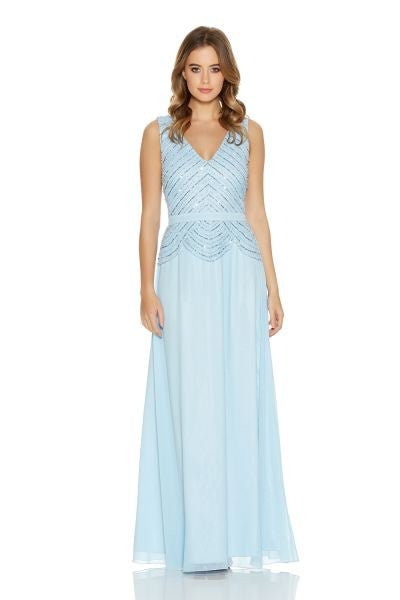Pale Blue Chiffon V Neck Embellished Maxi Dress