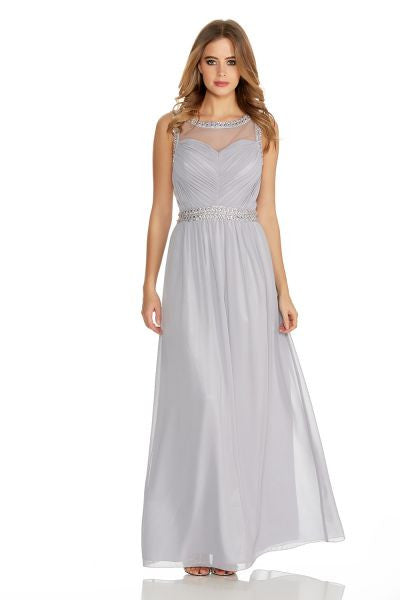 Grey Chiffon Mesh Embroidered Maxi Dress