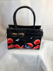 Paten Black Bag With Bow Poppies and Butterflies