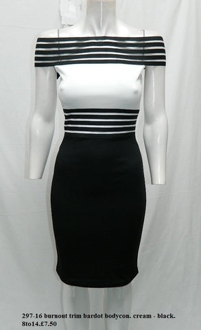 White and Black Bardot Midi Dress