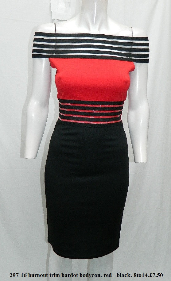 Red and Black Bardot Midi Dress