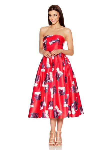 Red And Cream Rose Print Bandeau Dress