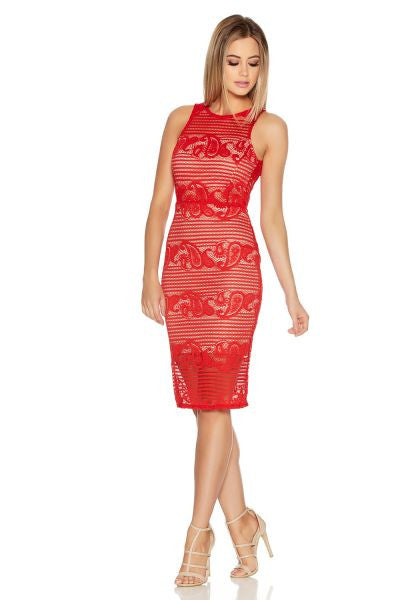 Red And Stone Lace Low Back Dress
