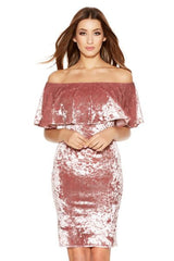Dusty Pink Crushed Velvet Bardot Dress