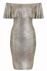 Silver Textured Frill Bardot Midi Dress