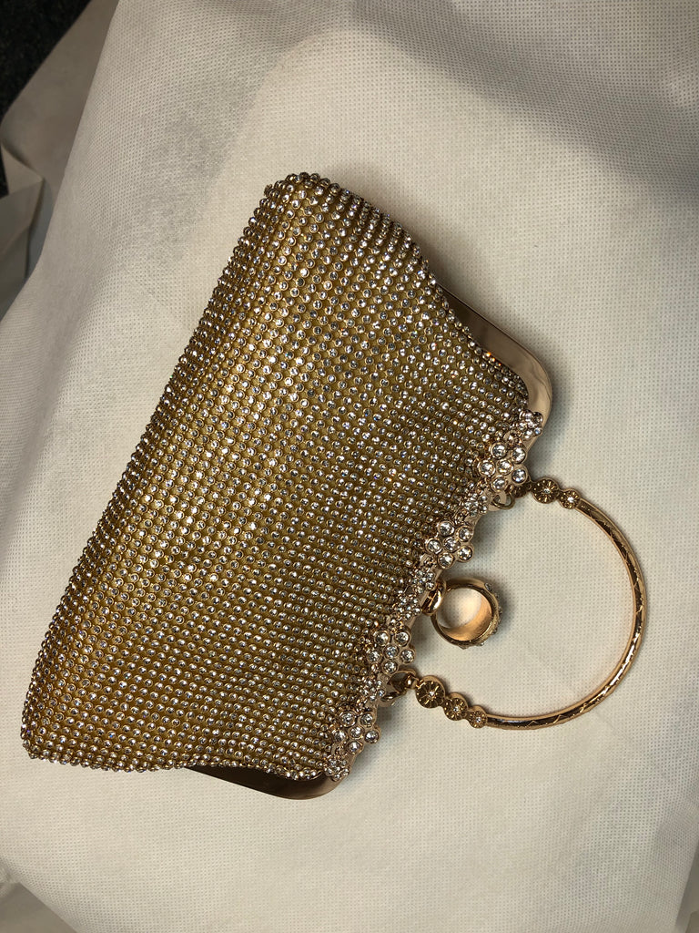 Small Gold Clutch with Gems and Small Handle