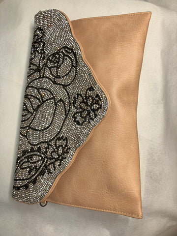 Nude/ Nutral Clutch With Gem Overlay and Black Flower Print