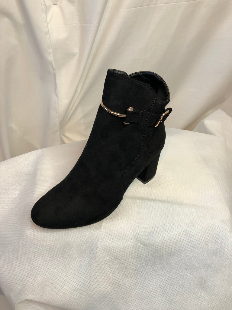 Black Heeled Ankle Boots with Gold Buckle Accessory
