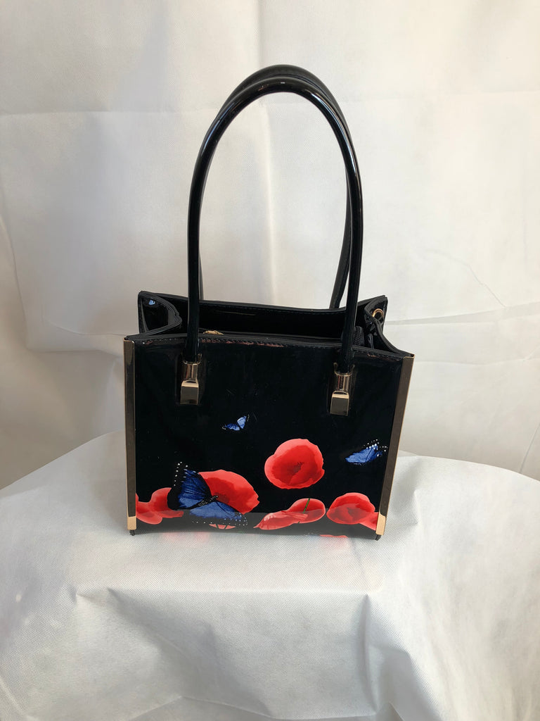 Black Square Shape Bag with Poppy Pattern and High Handle