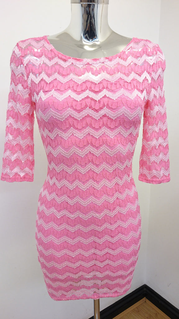 Pink/White Zigzag Dress
