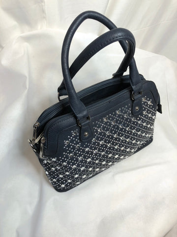 Small Sturdy Black Bag with Zip Close and Gem Pattern Front