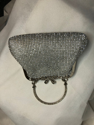Small Silver Clutch With Handle
