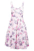 Pink Satin Flower Print Prom Dress
