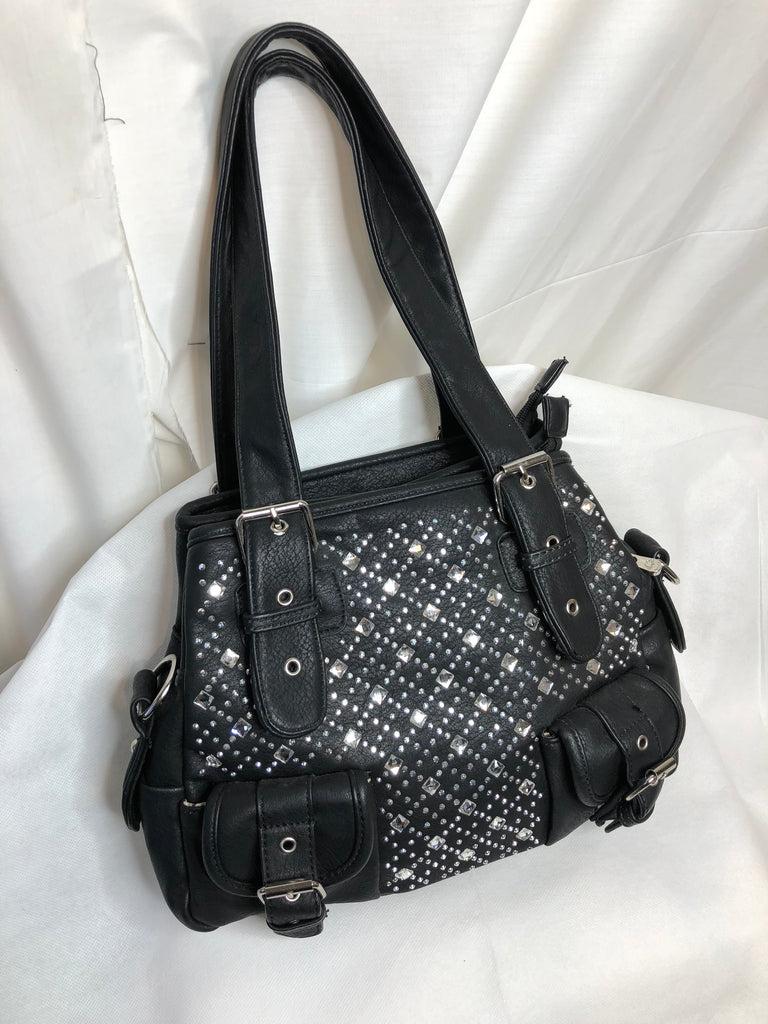 Black Medium Sized Bag With Gem Patterend Front and Two Aditional Buckle Front Pockets