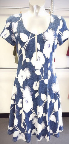 Blue Skater Style Dress with White Flora Pattern and Additional Zip Accessory