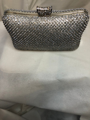 Silver Hard Clutch With Gems and Clasp