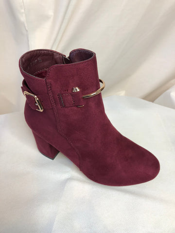 Wine Red Heeled Ankle Boots with Gold Buckle Accessory