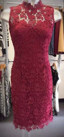 Burgundy Lace Short Sleeved Dress