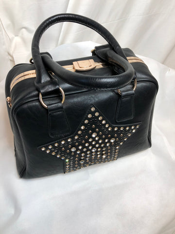 Black Sturdy Bag with Gem Star Print on Front
