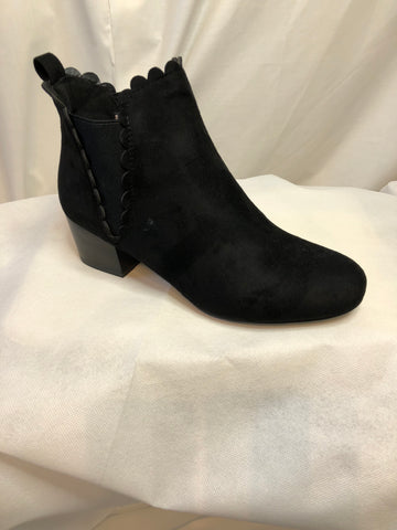 Black Polly Cotton Elasticated Ankle Boots
