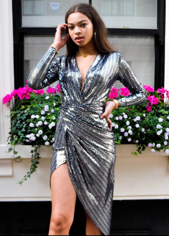 Silver Long Sleeved Side Split Dress