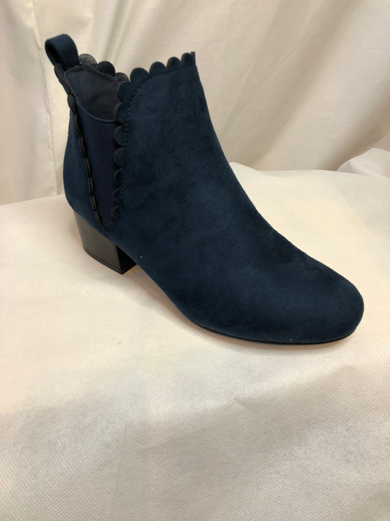 Navy Polly Cotton Elastic Ankle Boots