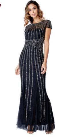 Long Chiffon Maxi Dress With Sequin Detail