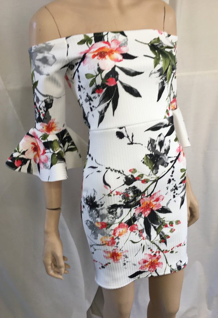 Bandage dress with floral design