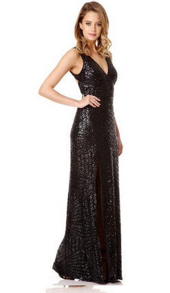 Black Sequin V Neck Zig Zag Maxi Dress