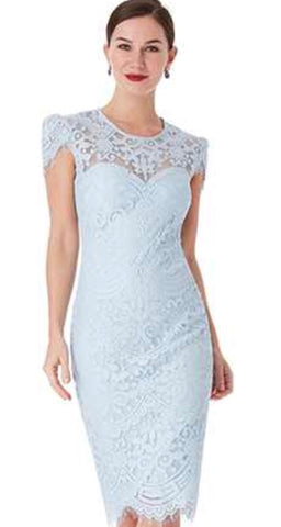 Light Blue, Black and Pink Cap Sleeved Lace Midi Dress