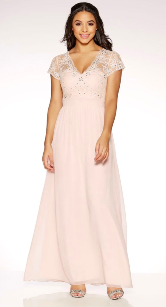 Nude Chiffon Cap Sleeve Embellished Maxi Dress