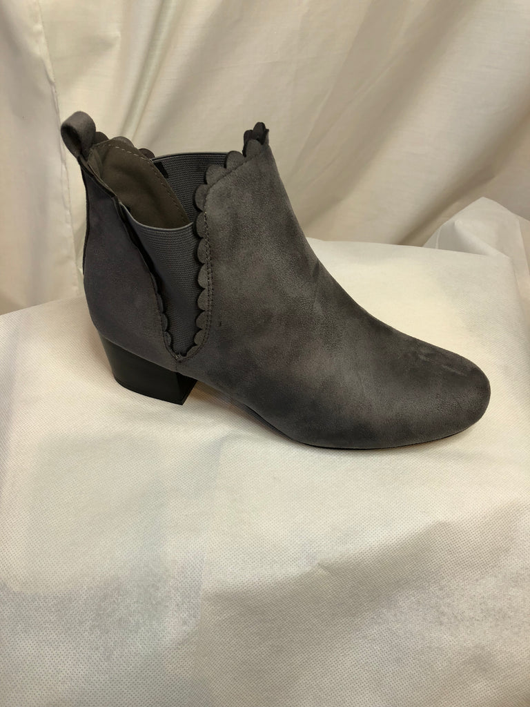 Grey Polly Cotton Elasticated Ankle Boots