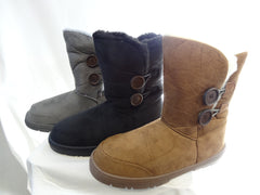 Ladies Button Winter Snow Boots with Thick Waterproof Soles