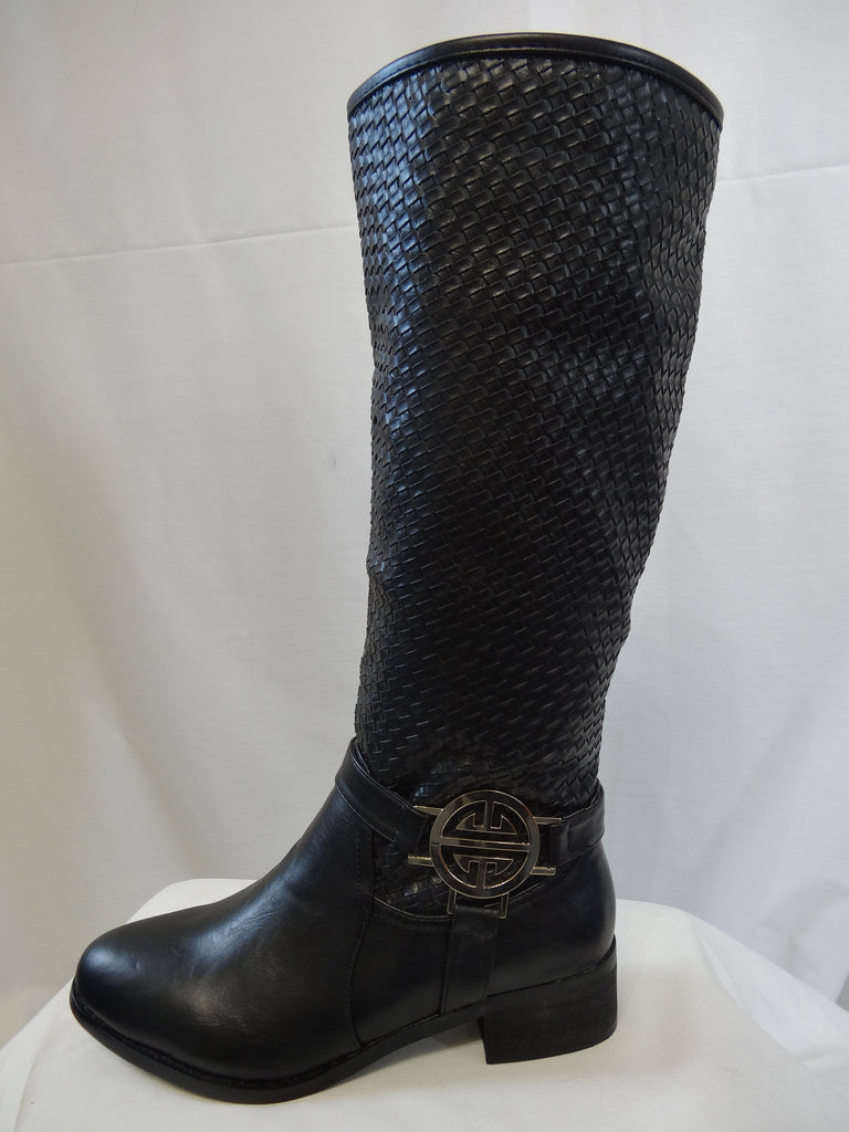 Weaved Leather Knee High Buckle Boots