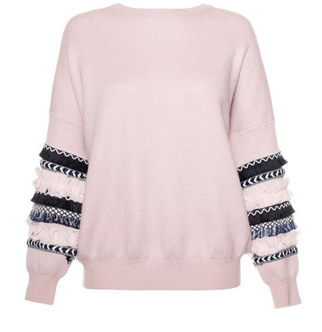 Long Sleeved Knitted Fringe Jumper
