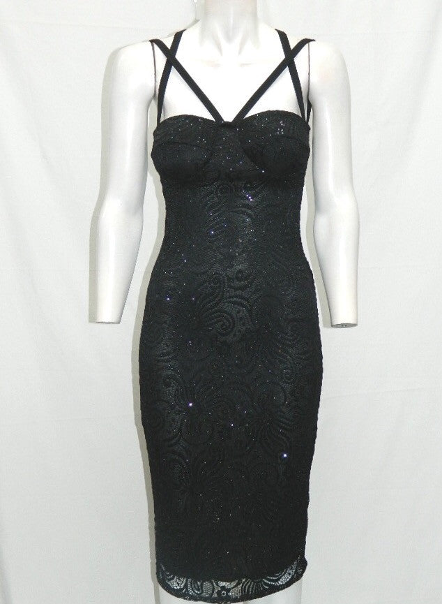 Black Sparkly Lace Multi Strap Dress