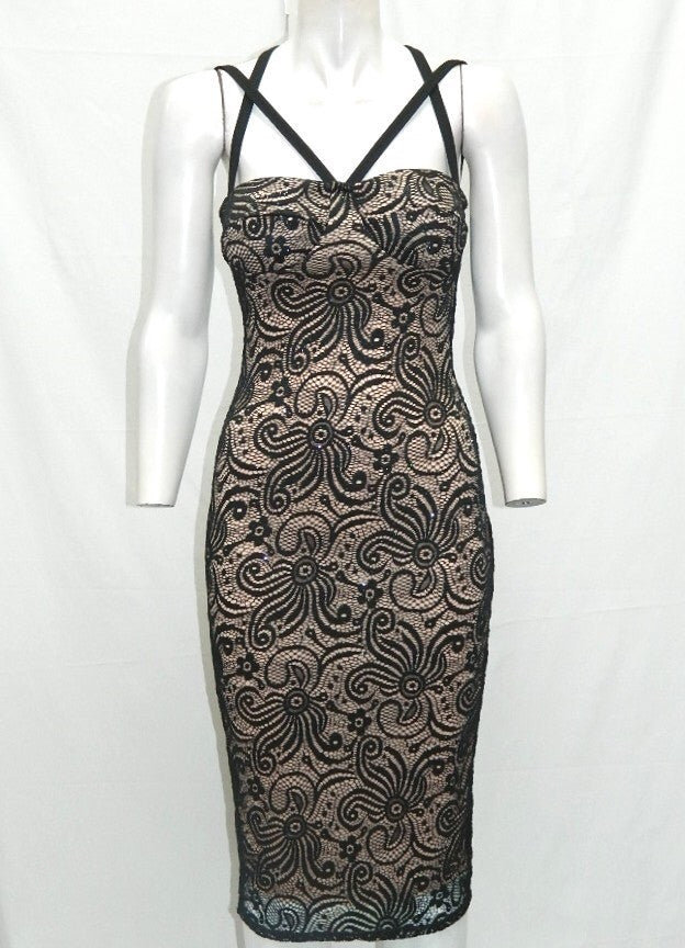 Black and Nude Multi Strap Sparkly Lace Dress